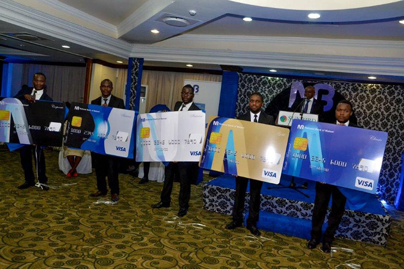 National Bank of Malawi's five different credit cards: Visa Credit card Classic, Visa Credit Card Gold, Visa Credit Card Gold, Visa Credit Card Business and Visa Credit  Card Corporate