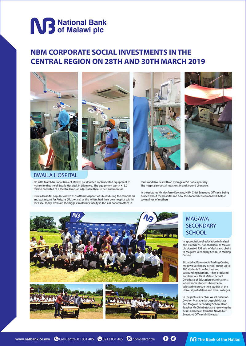 Nbm Corporate Social Investments in the Central Region on 28th and 30th March 2019