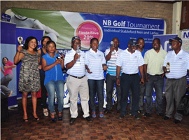 prize presentation for Blantyre Golf Tournament